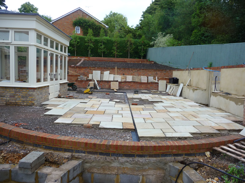 courtyard garden during construction