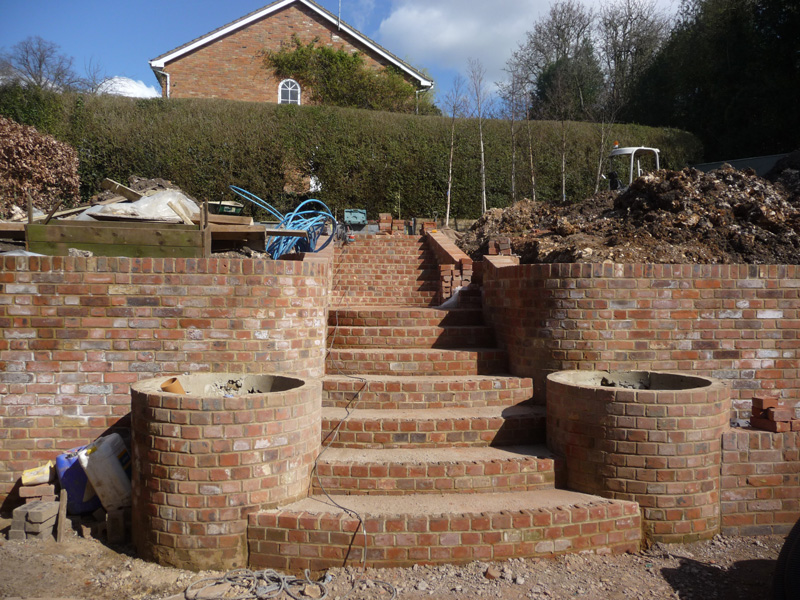 build of steps and retaining walls in courtyard garden