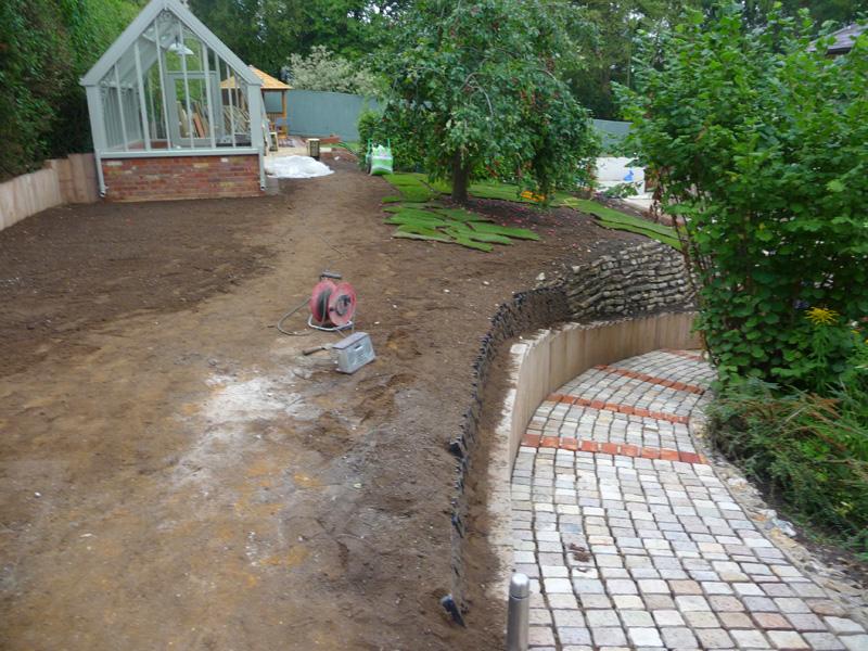 country garden mid-construction
