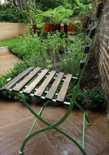 chair in modern city garden
