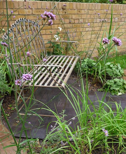 bench in modern city garden