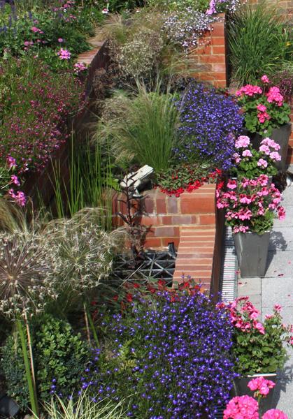 colourful planting design in pretty family garden