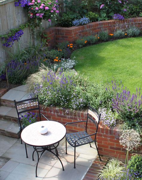 Contemporarily designed seating area in family garden