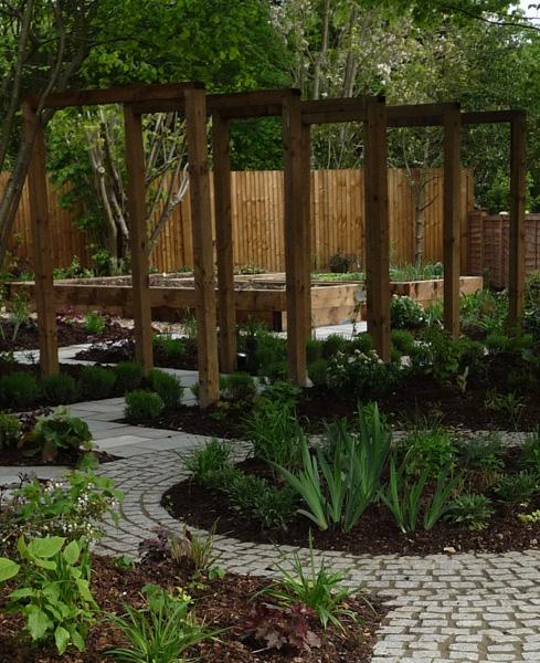 pergola and paving design in contemporary garden