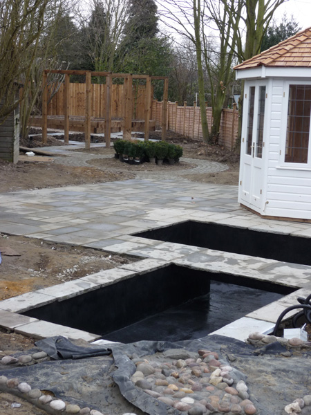 contemporary garden under construction