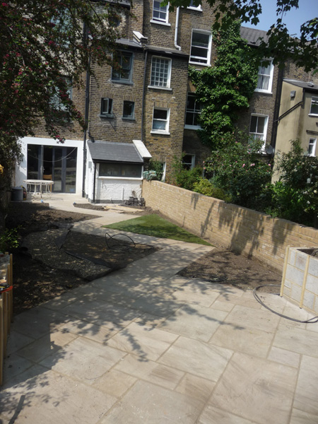 city garden with paving complete