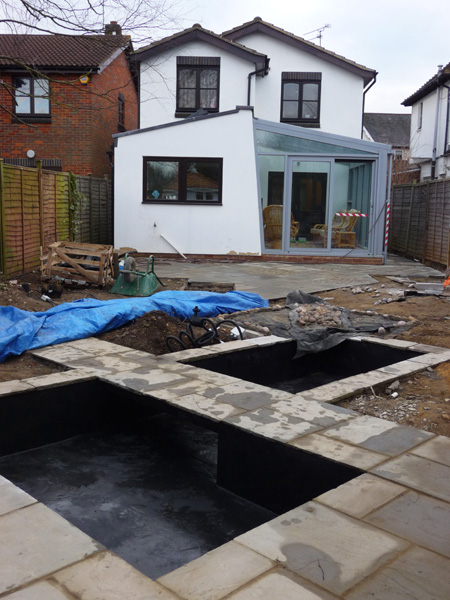 Garden water feature under construction